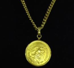 K18枠&チェーン付メキシコ5ペソ金貨(K21.6)ネックレス