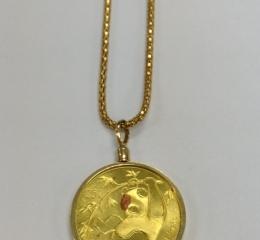 K18枠パンダ金貨付ネックレス