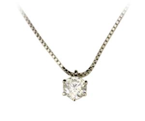 プラチナのダイヤ一粒ネックレス